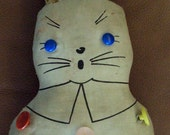 Antique Stuffed Crazy Cotton Button Bunny Rabbit Waxed Vintage