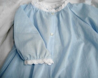 Baby blue daygown with crochet edging