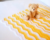 Soft and Cozy LEMON and white  Baby Blanket - Beautiful and Luxuriously Handcrafted CROCHET Blanket