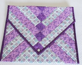 Free Domestic Shipping QUILTED Padded  Clutch Bag - beautifully handmade, pearloid snap closure -