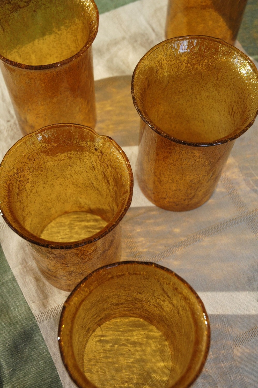Vintage Amber Colored Blown Glass Lamp Shades By Vintagegreats