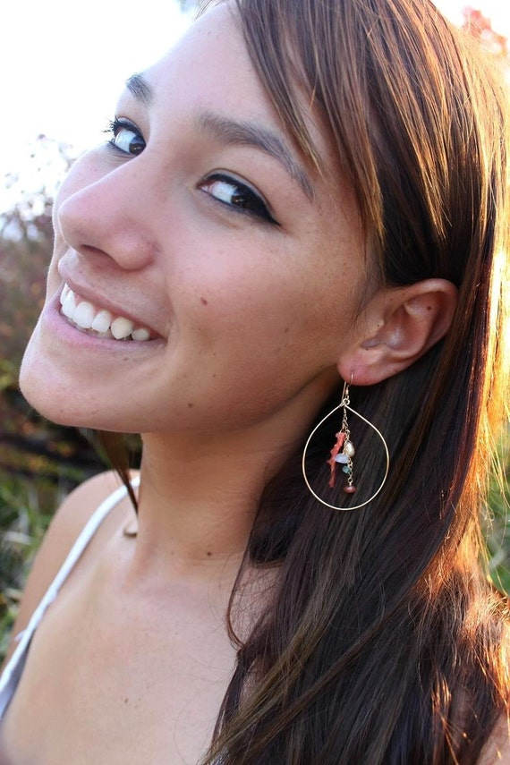 Sterling Silver Hoops Adorned with Natural Italian Coral and Semi Precious Gemstones