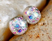 Ready to Ship- Stud Earrings- Colorful Fused Glass Double Dichroic Studs on Sterling Silver Posts