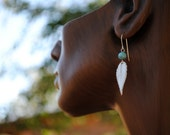 Lamp-worked Beads and Fine Silver Leaf Earrings on Sterling Silver Ear Wire