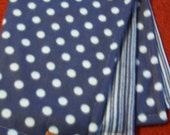 Blue fleece polka dot & stripes baby boy blankie