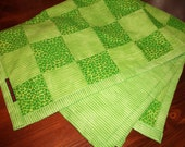 Green Leopard Print & Stripes Baby Quilt