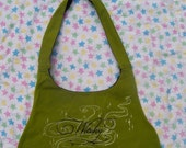 Green and black (Witchy) cotton tie-strap hobo purse