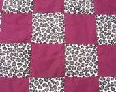 Leopard Print/Maroon Baby Quilt
