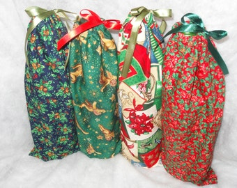 Christmas Wine Bottle Gift Bags Set of 4