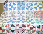 Feedsack Rag Quilt - Vintage - Recycled