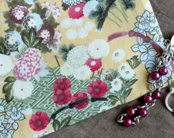 Cosmetic Bag,  medium zipper,  rose, deep sage, goldenrod - Asian Garden