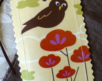 Owl luggage tags,  stylized trees, orange, brown, yellow, set of 2