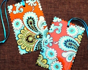 Luggage tags  Amy Butler French Wallpaper,  orange, aqua, lime, brown, travel, set of 2