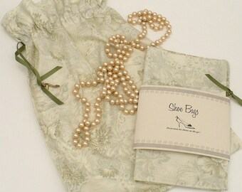 Toile Shoe Bags, Wedding, Travel, Sage Green Toile, Set of 2, drawstring bag, lingerie, Storage