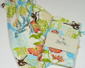 Travel shoe bag, aqua, orange, lime, Hummingbird garden, drawstring bags