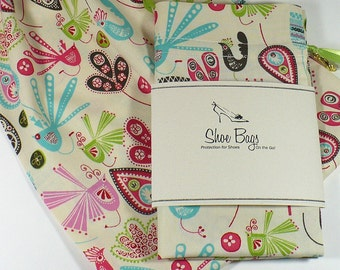 Shoe Bags - Mod birds, leaves, in turquoise, lime, pink, drawstring cotton bag