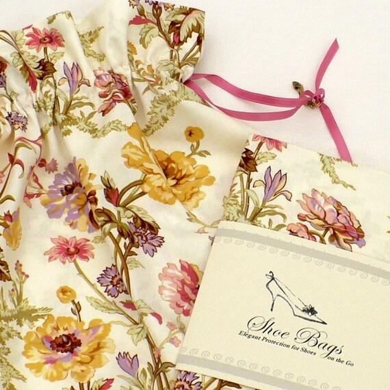 Floral Shoe Bags, Buttercup, lavender, warm pink, English Garden, Drawstring
