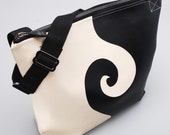 Chaos and Creation Swirl Black and Cream Large Shoulder Bag