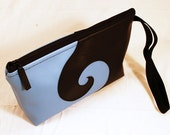 Chaos and Creation Swirl Black and Blue Wristlet