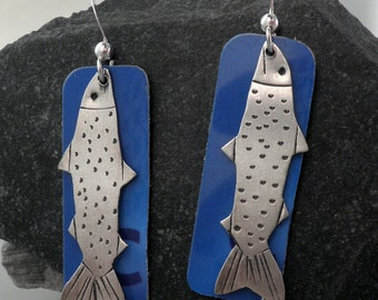 Hooked: Sterling Silver and Recycled Credit Card Earrings