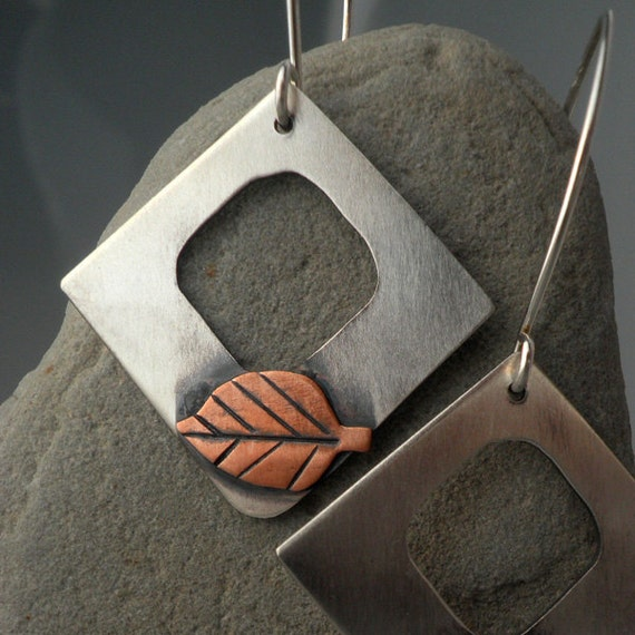 Mixed Metal Leaf Earrings- Sterling Silver and Copper