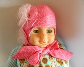 Pink and White Baby Bonnet