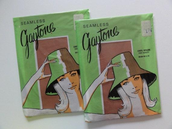 Vintage 1960's Gaytone Nylon Stockings- 2 Pair in Pkg-Siz 8 1/2