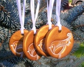 Holiday Bird Ornament - Gold - 4 Pack Set