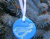 Holiday Bird Ornament - Blue - Single