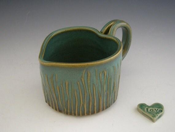 Heart Mug. Rustic Green Patina - Carved Woodland Heart - Valentines Mug