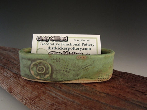 Ceramic business card holder in patina green distressed for Ceramic business card holder