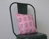 pink block printed linen cushion pillow
