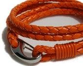 LAST ONE Orangina - Orange Braided Leather Wrist Wrap Bracelet with Modern Steel Hinged Hook Clasp