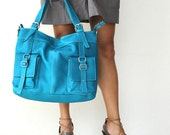 Last One - leather messenger tote - Sky Blue Large Leather Shoulder Bag - Can Be Worn Across the Chest