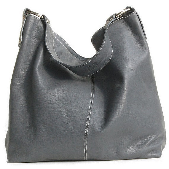 Leather carry all - Ton Sai in Slate - Large Luxurious Leather Tote in Gray Blue Stone LAST ONE