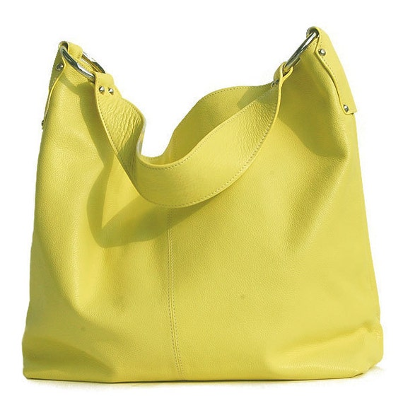 lemon yellow leather tote - roomy luxurious lemon chiffon leather carry all Last One