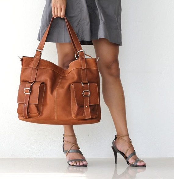 leather messenger tote - Caramel Brown Large Leather Shoulder Bag  - Can Be Worn Across the Chest EXPRESS SHIPPING Last One