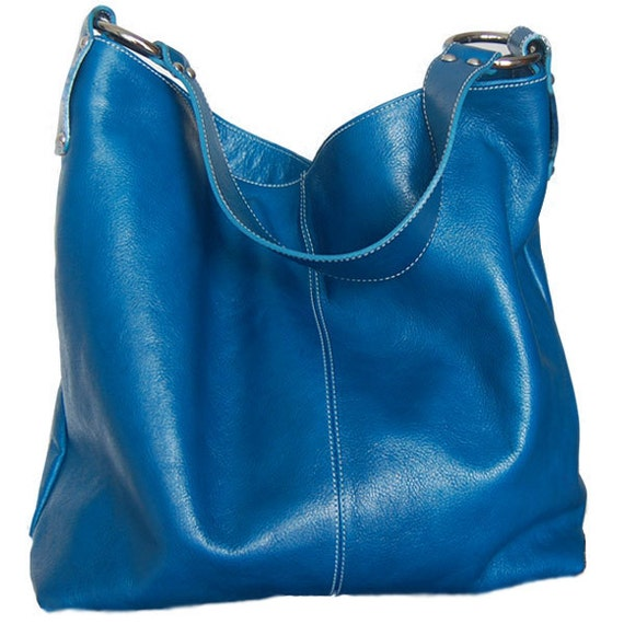 blue leather carry all - Ton Sai in Cerulean Blue - Large Luxurious Leather Tote in Candy Blue LAST ONE