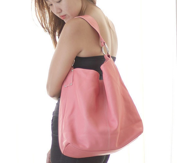large leather tote in pink coral - roomy plush leather carry all LAST ONE