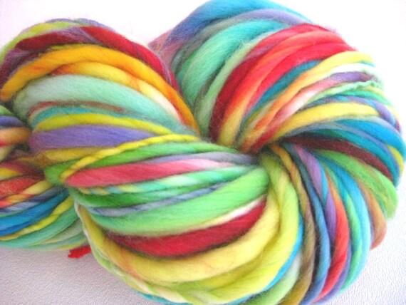 handspun yarn High Fidelity thick and thin bulky singles merino yarn, 78 yards, merino wool