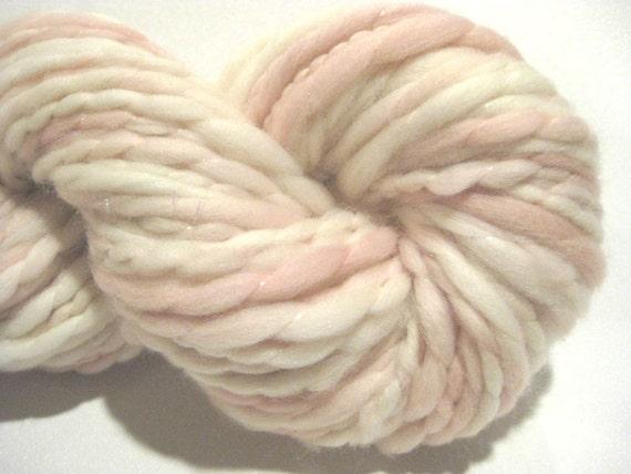 handspun yarn Almost Solid Salmon thick and thin bulky singles yarn thread plied, 62 yds