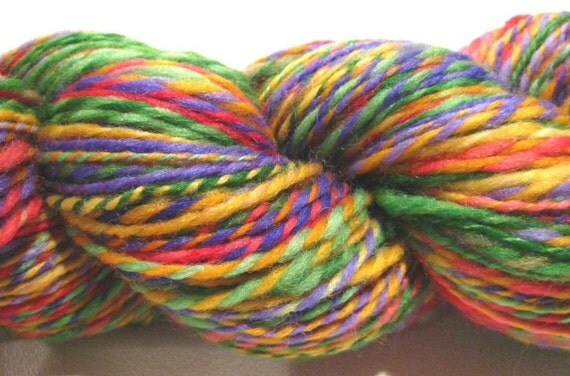 Handspun yarn Earth Heart, 126 yards, worsted weight 2 ply, hand dyed falkland wool top