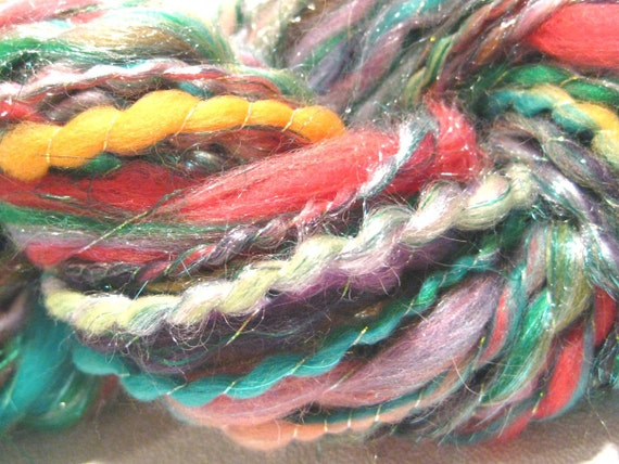 HALF OFF SALE  yarn Orchideous, sparkly thread wrapped art arn, 48 yards, hand dyed merino wool top
