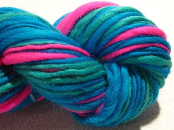 self striping handspun yarn Miami Vice thick and thin bulky singles merino yarn, 82  yards, hand dyed merino wool top