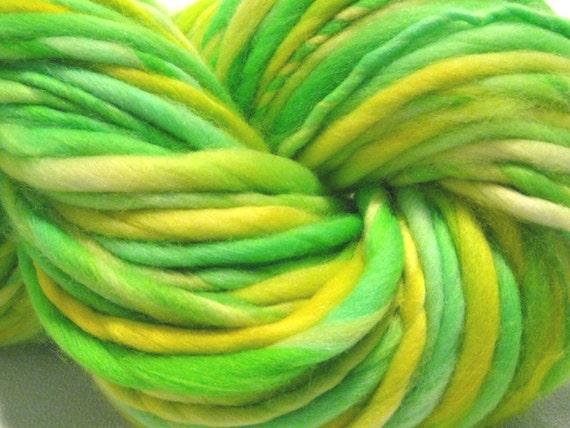 thick and thin bulky handspun yarn Lemon Lime, 44 yards, hand dyed merino wool top, yellow green yarn