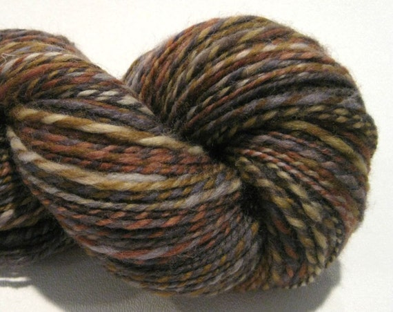 2 ply Worsted Weight Handspun yarn River Rocks, 290 yards, hand dyed corriedale wool, knitting supplies crochet supplies grey gray  brown