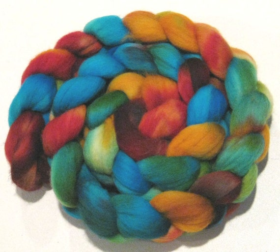 5 5/8 oz Hand dyed falkland wool roving vibrant colorful roving for spinning and felting