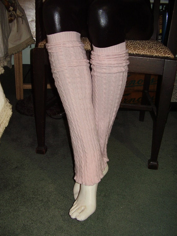 Pure Cashmere, 100% Cashmere Upcycled Pink Leg Warmers with Ruffle Edges