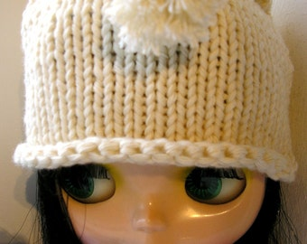 Knitted Hat For Blythe - Cream