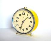 Retro 1970s yellow alarm clock Czechoslovakia PRIM